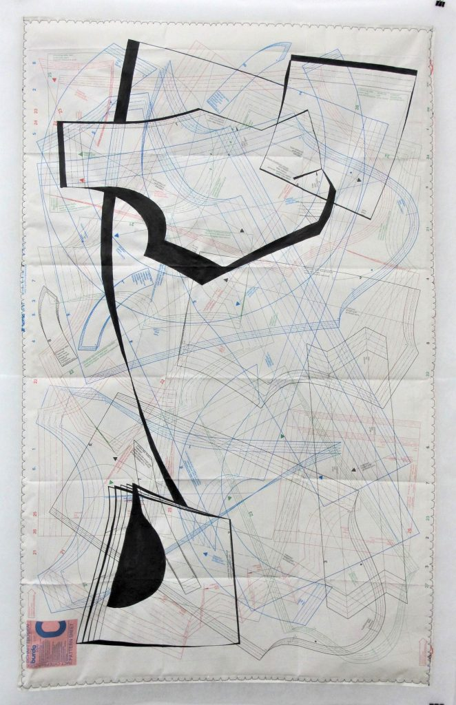 untitled, (patterns of movement) untitled, (patterns of movement I) ca. 70x100cm, ink, sewing thread on sewing paper and fleece
