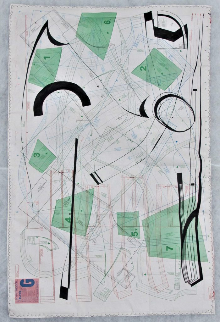 untitled, (patterns of movement I) ca. 80x120cm, ink, sewing thread on sewing paper and fleece